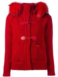 Bark Fur Collar Duffle Coat Red