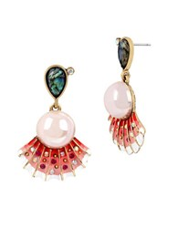 Betsey Johnson Sea Shell And Pearl Drop Earrings Pink