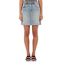 Helmut Lang Women's Distressed Denim Miniskirt Light Blue