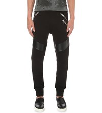 Just Cavalli Faux Leather Panel Cotton Jersey Jogging Bottoms Black