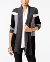 Charter Club Petite Cashmere Colorblocked Cardigan Only At Macy's Classic Black