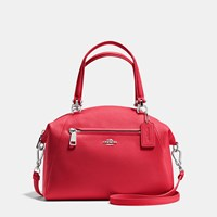 Coach Prairie Satchel In Pebble Leather Silver True Red