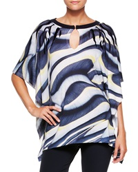 Escada Printed Wool Silk Tunic Top Multi