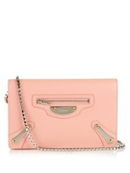 Balenciaga Metal Plate Leather Shoulder Bag Light Pink