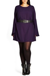City Chic Plus Size Women's 'Beautiful Belle' Belted Tunic Blackberry