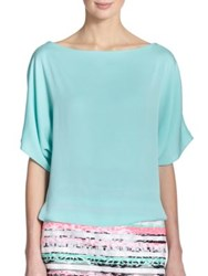 Milly Stretch Silk Blouse Mint Green
