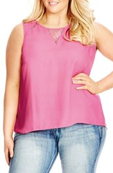 Plus Size Women's City Chic Lace Inset Sleeveless Top