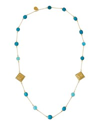 Devon Leigh Long Turquoise Chalcedony And Filigree Cushion Station Necklace