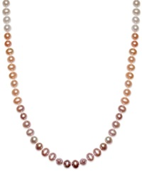 Macy's Multi Colored Cultured Freshwater Pearl Necklace In Sterling Silver 7Mm