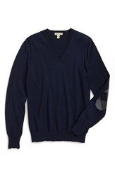 Burberry Men's Brit 'Dockley' V Neck Wool Sweater New Navy