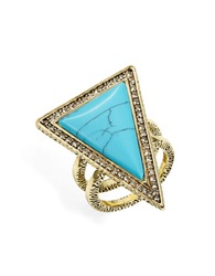 House Of Harlow Triangle Double Band Ring Turquoise