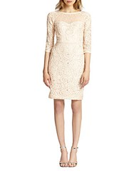 Sue Wong Macram And 233 Illusion Sheath Dress Blush