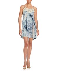 Design Lab Lord And Taylor Crochet Trimmed Tie Dye Dress Navy
