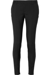 Saint Laurent Wool Gabardine Slim Leg Pants Black