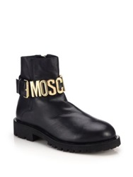 Moschino Logo Buckle Lug Sole Leather Chelsea Boots Black