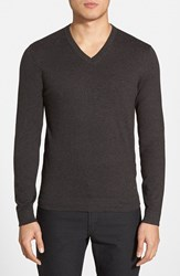 Men's Boss 'Eriberto' V Neck Cotton And Cashmere Sweater Charcoal