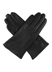 Dents Ladies Plain Leather Gloves Lined Fleece Black