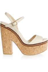 Jimmy Choo Naylor Leather And Cork Sandals White