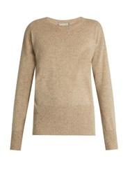 Vince Cut Out Back Cashmere Knit Sweater Beige