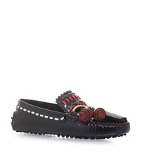 Tod's Gommini Embroidered Gypsy Loafers Female Black