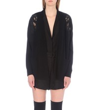 Sandro Davon Wool And Cashmere Blend Cardigan Noir