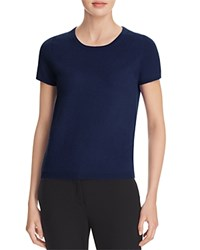 Bloomingdale's C By Short Sleeve Cashmere Sweater Dark Navy
