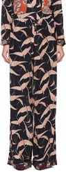 Valentino Navy And Pink Crepe Patterned Lounge Pants