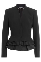 Alexander Mcqueen Blazer With Pleated Peplum Hem Black