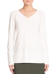 Lafayette 148 New York Sheer Detail V Neck Sweater Cloud
