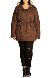 City Chic Plus Size Women's Faux Fur Trim Cotton Parka