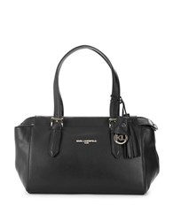 Karl Lagerfeld Smooth Leather Satchel Black Gold
