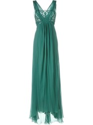 Alberta Ferretti Bust Lace Detailing Long Dress Green