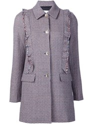 Sonia Rykiel Ruffle Detail Tweed Jacket Multicolour