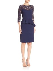 Teri Jon By Rickie Freeman Lace Three Quarter Sleeve Peplum Dress Navy