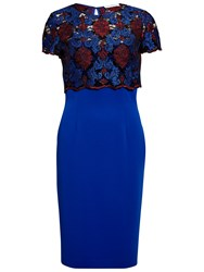 Gina Bacconi Dress With Corded Embroidery Lace Overtop Royal Blue