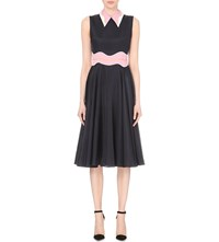 Roksanda Ilincic Contrast Collar Silk Blend Dress Navy