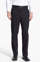 Men's Big And Tall Jb Britches Flat Front Worsted Wool Trousers Black