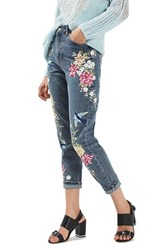 Topshop Women's Garden Embroidered Mom Jeans