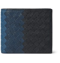 Bottega Veneta Degrade Intrecciato Leather Billfold Wallet Blue
