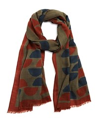 Drakes Printed Scarf Green Rust