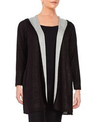 Calvin Klein Plus Colorblocked Hooded Cardigan Black