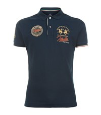 La Martina Slim Fit Pique Polo Shirt Male Navy