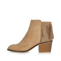 River Island Womens Light Brown Diamante Fringed Boots