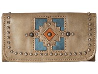 American West Annie's Secret Collection Tri Fold Wallet Sand Denim Blue Golden Tan Wallet Handbags Brown
