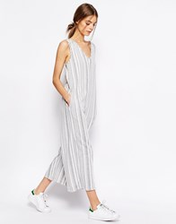 Asos Jersey Jumpsuit With Wide Leg In Variegated Stripe Multi