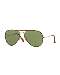 Original Aviator Sunglasses With Camouflage Brown Horn Ray Ban