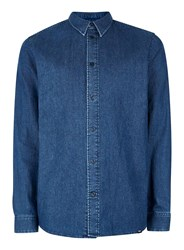 Topman Wood Wood Dark Blue Lightweight Denim Shirt