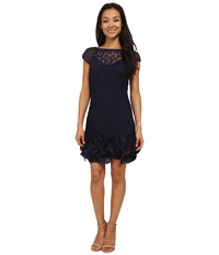 Jessica Simpson Short Tiered Sleeve Dress With Ruffle At Hem Navy Women's Dress