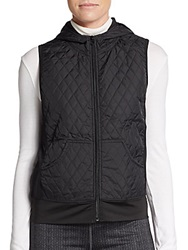 Saks Fifth Avenue Blue Quilted Hooded Zip Vest Black