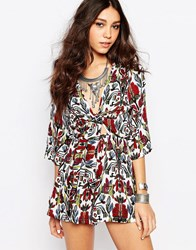 Wyldr Bow Front Printed Playsuit Multi Red